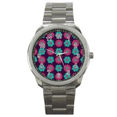 Flower Floral Rose Sunflower Purple Blue Sport Metal Watch by Alisyart