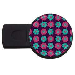 Flower Floral Rose Sunflower Purple Blue Usb Flash Drive Round (4 Gb) by Alisyart