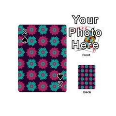 Flower Floral Rose Sunflower Purple Blue Playing Cards 54 (mini)  by Alisyart