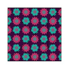 Flower Floral Rose Sunflower Purple Blue Acrylic Tangram Puzzle (6  X 6 ) by Alisyart