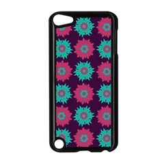 Flower Floral Rose Sunflower Purple Blue Apple Ipod Touch 5 Case (black) by Alisyart