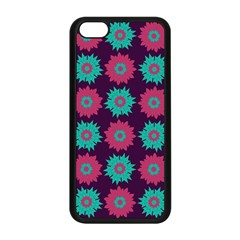 Flower Floral Rose Sunflower Purple Blue Apple Iphone 5c Seamless Case (black) by Alisyart