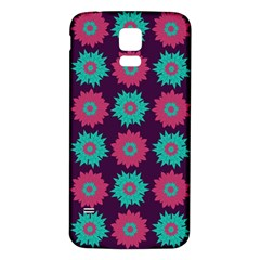 Flower Floral Rose Sunflower Purple Blue Samsung Galaxy S5 Back Case (white) by Alisyart