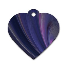 Purple Fractal Dog Tag Heart (two Sides) by Simbadda