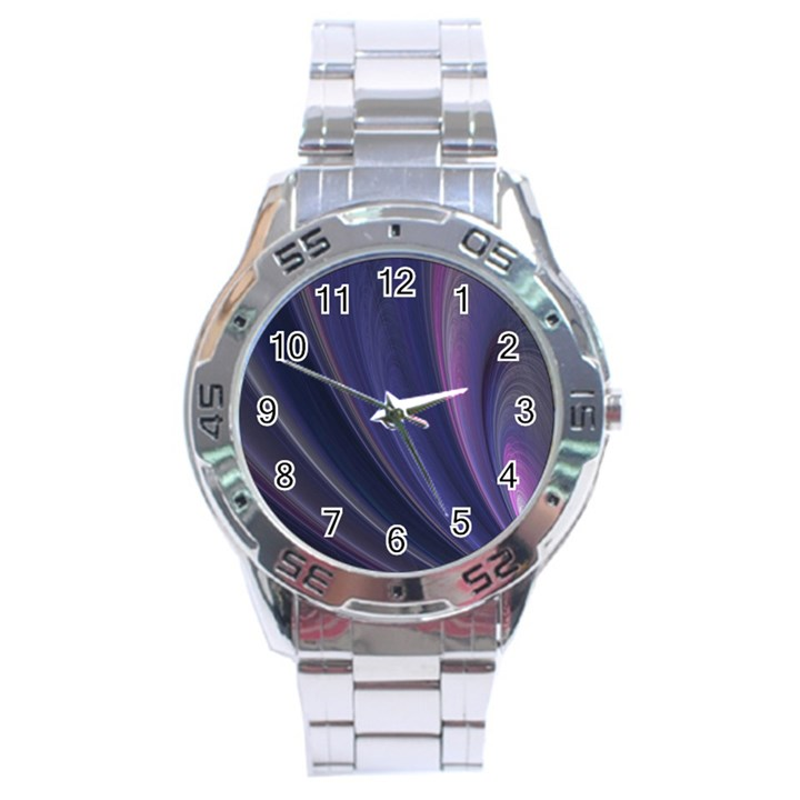 Purple Fractal Stainless Steel Analogue Watch