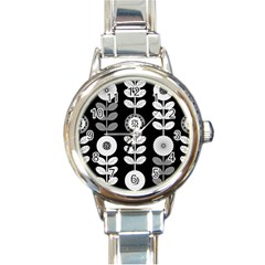 Floral Pattern Seamless Background Round Italian Charm Watch by Simbadda