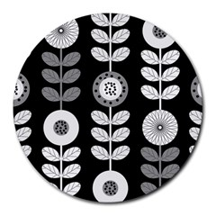 Floral Pattern Seamless Background Round Mousepads by Simbadda