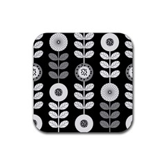 Floral Pattern Seamless Background Rubber Square Coaster (4 Pack)  by Simbadda
