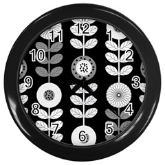 Floral Pattern Seamless Background Wall Clocks (black) by Simbadda
