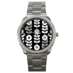 Floral Pattern Seamless Background Sport Metal Watch by Simbadda