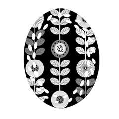 Floral Pattern Seamless Background Oval Filigree Ornament (two Sides) by Simbadda