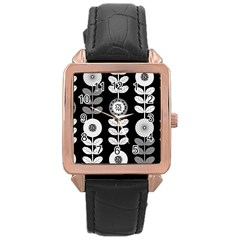 Floral Pattern Seamless Background Rose Gold Leather Watch  by Simbadda