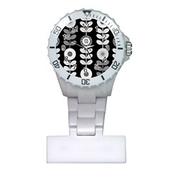 Floral Pattern Seamless Background Plastic Nurses Watch by Simbadda