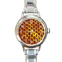 Network Grid Pattern Background Structure Yellow Round Italian Charm Watch by Simbadda