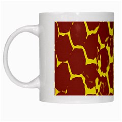 Network Grid Pattern Background Structure Yellow White Mugs by Simbadda