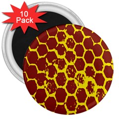 Network Grid Pattern Background Structure Yellow 3  Magnets (10 Pack)  by Simbadda