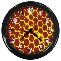 Network Grid Pattern Background Structure Yellow Wall Clocks (black) by Simbadda