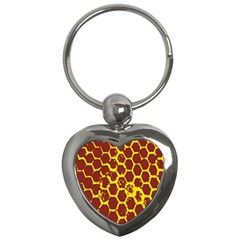Network Grid Pattern Background Structure Yellow Key Chains (heart)  by Simbadda