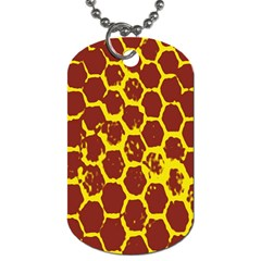 Network Grid Pattern Background Structure Yellow Dog Tag (two Sides) by Simbadda
