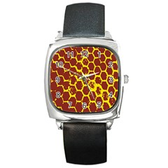 Network Grid Pattern Background Structure Yellow Square Metal Watch by Simbadda