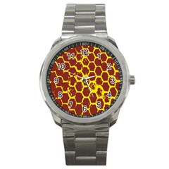 Network Grid Pattern Background Structure Yellow Sport Metal Watch by Simbadda