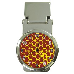 Network Grid Pattern Background Structure Yellow Money Clip Watches by Simbadda