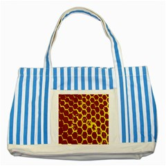 Network Grid Pattern Background Structure Yellow Striped Blue Tote Bag by Simbadda