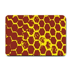 Network Grid Pattern Background Structure Yellow Small Doormat  by Simbadda