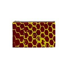 Network Grid Pattern Background Structure Yellow Cosmetic Bag (small)  by Simbadda