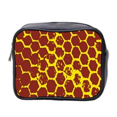 Network Grid Pattern Background Structure Yellow Mini Toiletries Bag 2 Side by Simbadda