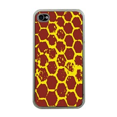Network Grid Pattern Background Structure Yellow Apple Iphone 4 Case (clear) by Simbadda