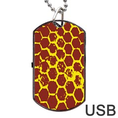 Network Grid Pattern Background Structure Yellow Dog Tag Usb Flash (one Side) by Simbadda