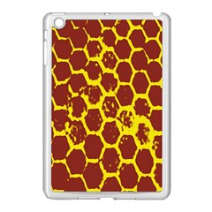 Network Grid Pattern Background Structure Yellow Apple Ipad Mini Case (white) by Simbadda