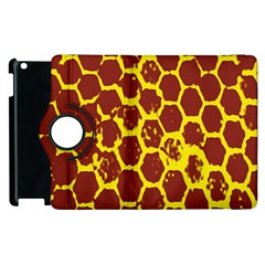 Network Grid Pattern Background Structure Yellow Apple Ipad 2 Flip 360 Case by Simbadda