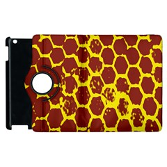 Network Grid Pattern Background Structure Yellow Apple Ipad 3/4 Flip 360 Case by Simbadda