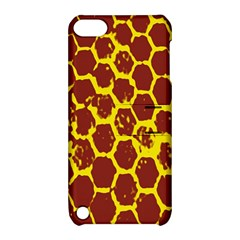 Network Grid Pattern Background Structure Yellow Apple Ipod Touch 5 Hardshell Case With Stand
