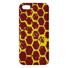 Network Grid Pattern Background Structure Yellow Apple Iphone 5 Premium Hardshell Case by Simbadda