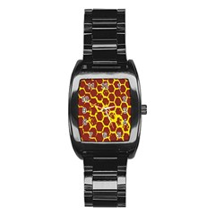 Network Grid Pattern Background Structure Yellow Stainless Steel Barrel Watch by Simbadda
