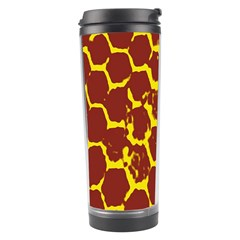 Network Grid Pattern Background Structure Yellow Travel Tumbler by Simbadda