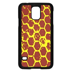 Network Grid Pattern Background Structure Yellow Samsung Galaxy S5 Case (black) by Simbadda