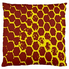 Network Grid Pattern Background Structure Yellow Large Flano Cushion Case (two Sides) by Simbadda