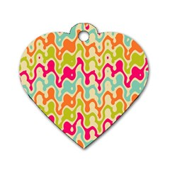 Abstract Pattern Colorful Wallpaper Dog Tag Heart (two Sides) by Simbadda