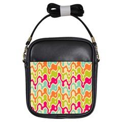 Abstract Pattern Colorful Wallpaper Girls Sling Bags by Simbadda