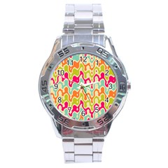 Abstract Pattern Colorful Wallpaper Stainless Steel Analogue Watch by Simbadda