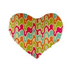 Abstract Pattern Colorful Wallpaper Standard 16  Premium Heart Shape Cushions by Simbadda