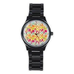 Abstract Pattern Colorful Wallpaper Stainless Steel Round Watch by Simbadda