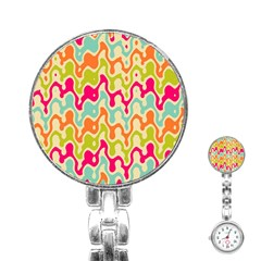 Abstract Pattern Colorful Wallpaper Stainless Steel Nurses Watch by Simbadda