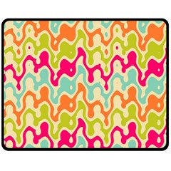 Abstract Pattern Colorful Wallpaper Double Sided Fleece Blanket (medium)  by Simbadda