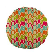 Abstract Pattern Colorful Wallpaper Standard 15  Premium Flano Round Cushions by Simbadda