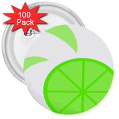 Fruit Lime Green 3  Buttons (100 Pack)  by Alisyart
